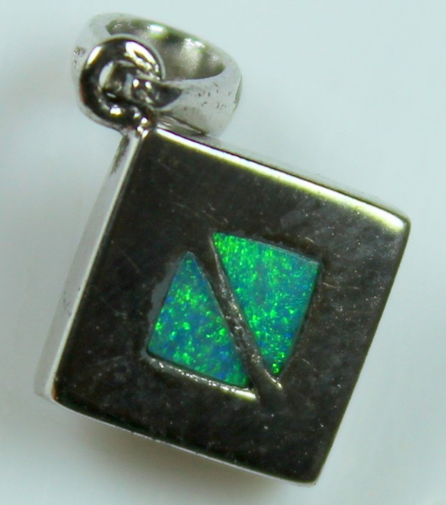 5.55 CTS INLAY STERLING SILVER CRYSTAL OPAL PENDENT C5009