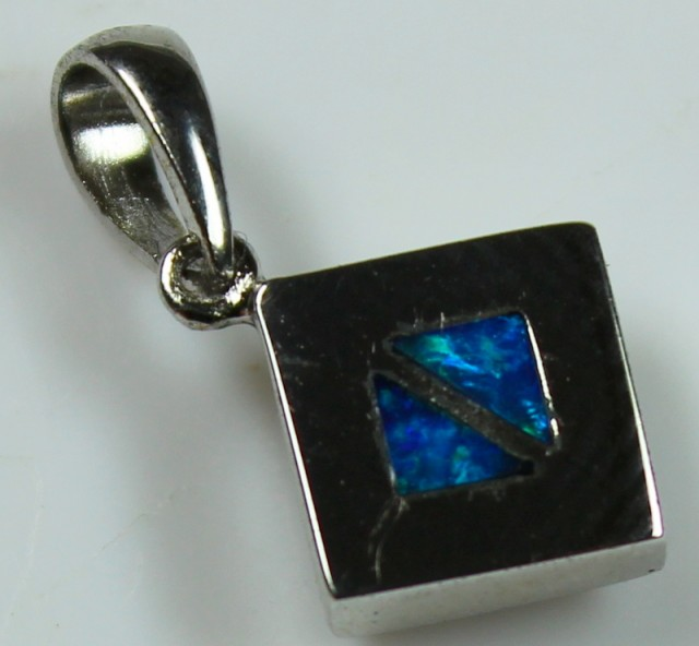 5.50 CTS INLAY STERLING SILVER CRYSTAL OPAL PENDANT 925 C5015