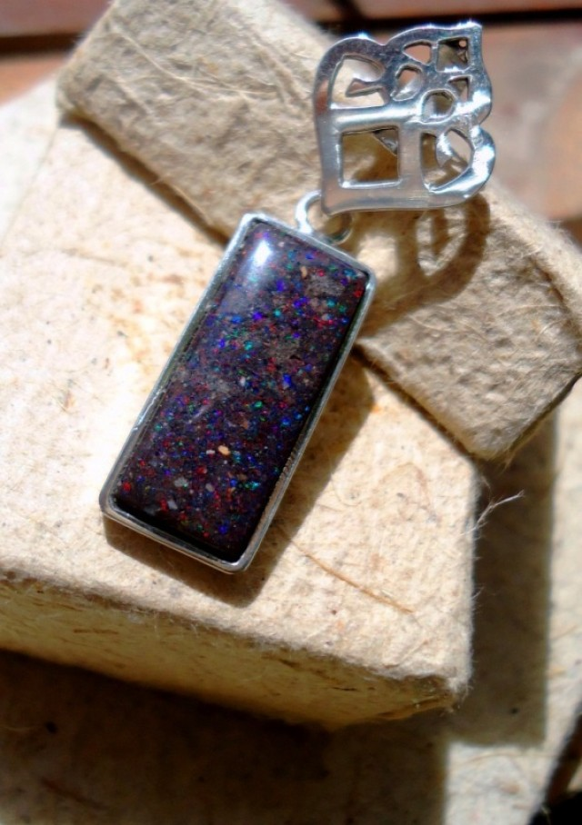Rectangle Pendant set in Native Sterling Silver, Handmade!!