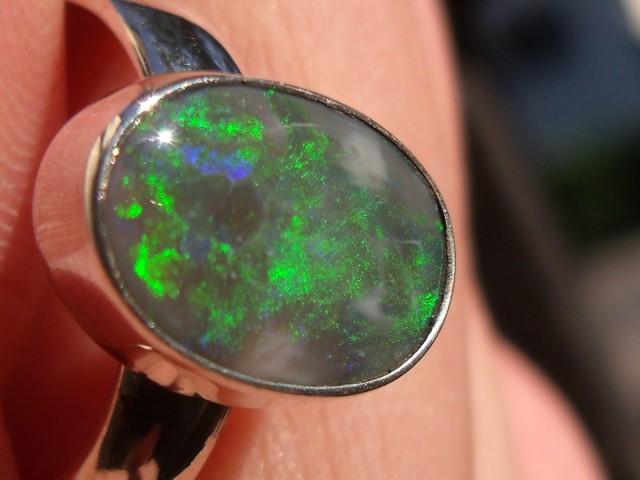 Bezel set Natural Solid Black opal gem taxco silver ring sz