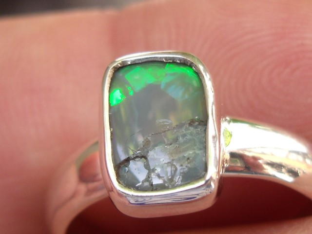 Bezel set Natural Solid Black opal gem taxco silver ring