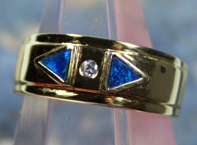 7.5 RING SIZE OPAL CRYSTAL INLAY STERLING SILVER GOLD PLATED C5155