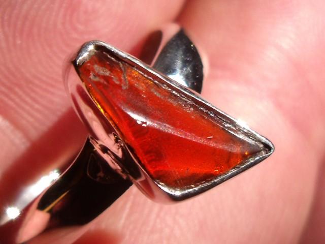 Bezel set Opal gem taxco silver ring sz 8.25