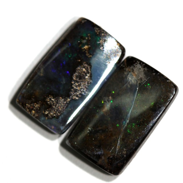 3.67 cts Boulder Opal Pair - Winton - Bright Flash (RB697)