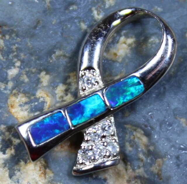 8.05 CTS INLAY STERLING SILVER CRYSTAL OPAL PENDANT 925 + CZ C5389