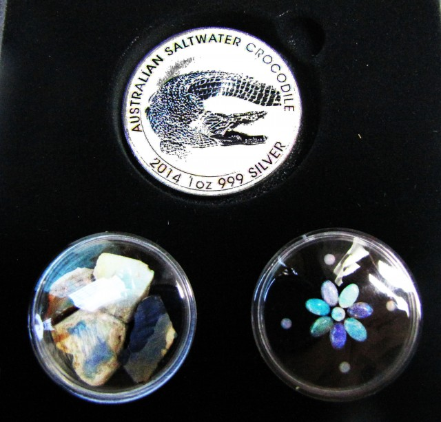 Crocodile Silver Coin &  black Opal series CCO 106