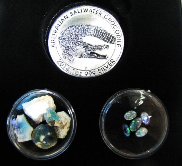 Crocodile Silver Coin &  black Opal series CCO 107