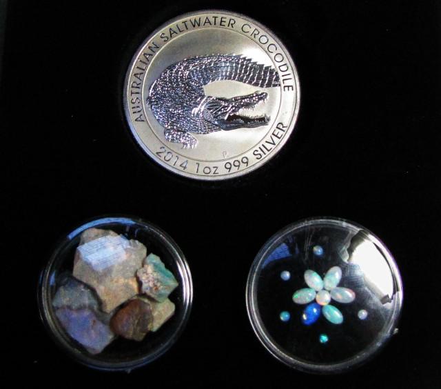 Crocodile Silver Coin &  black Opal series CCO 114