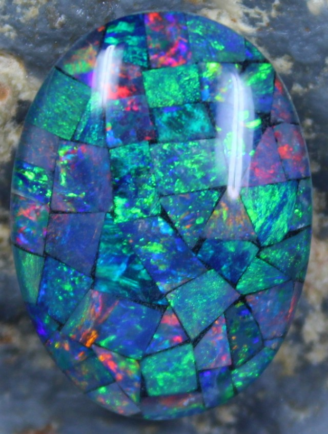 17.40 CTS TOP QUALITY MOSAIC OPAL ELECTRIC COLOR PLAY C5479