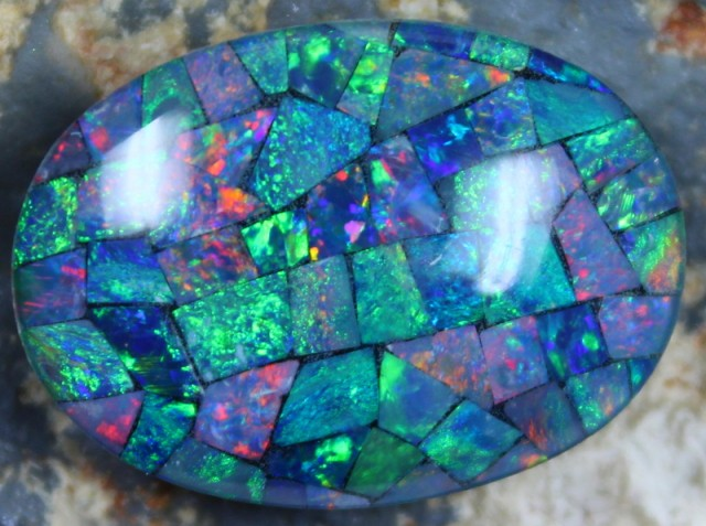 17.20 CTS TOP QUALITY MOSAIC OPAL ELECTRIC COLOR PLAY C5480