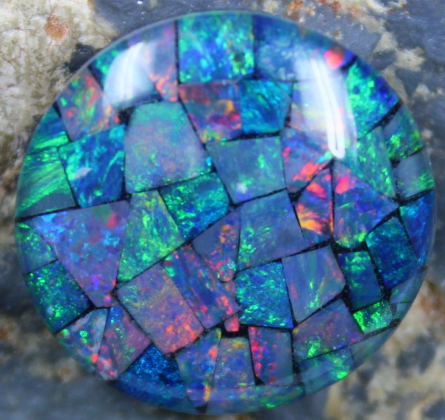 14.90 CTS TOP QUALITY ROUND MOSAIC OPAL ELECTRIC COLOR PLAY C5489