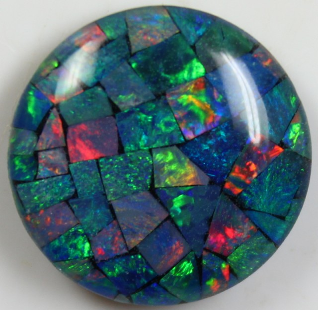 14.80 CTS TOP QUALITY ROUND MOSAIC OPAL ELECTRIC COLOR PLAY C5496