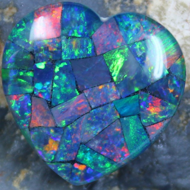 14.60 CTS TOP QUALITY HEART MOSAIC OPAL ELECTRIC COLOR PLAY C5497