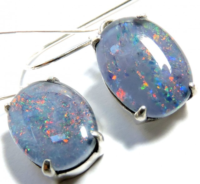 Sheppard hook Triplet opal earrings silver Pl1068