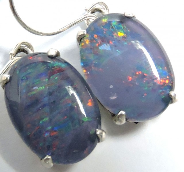 Sheppard hook Triplet opal earrings silver Pl1071