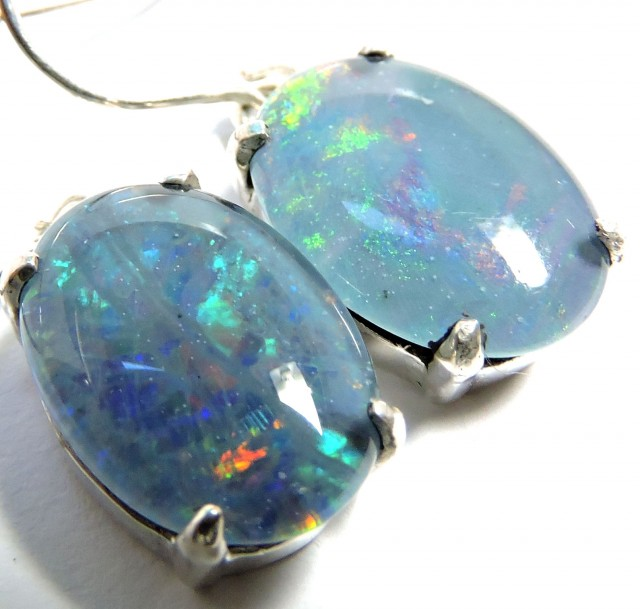 Sheppard hook Triplet opal earrings silver Pl1075