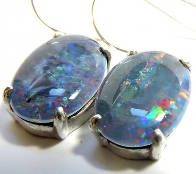 Sheppard hook Triplet opal earrings silver Pl 76106