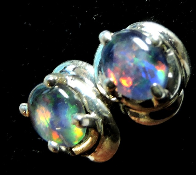 Cute  Triplet opal earrings silver Pl 1083