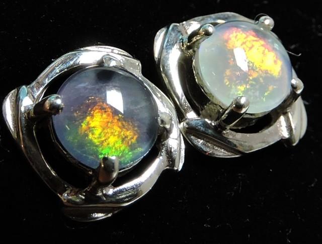 Cute  Triplet opal earrings silver Pl 1085