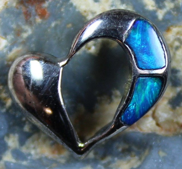 4.60 CTS HEART SHAPE INLAY CRYSTAL OPAL PENDANT STERLING SILVER 925 C5538