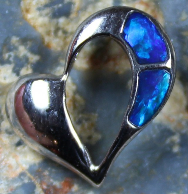 4.45 CTS HEART SHAPE INLAY CRYSTAL OPAL PENDANT STERLING SILVER 925 C5540