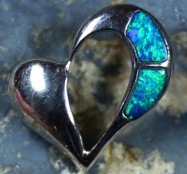 4.40 CTS HEART SHAPE INLAY CRYSTAL OPAL PENDANT STERLING SILVER 925 C5541