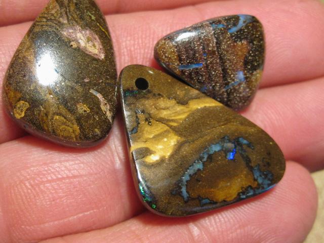 YowahOpals*71.80Cts-'Drilled' 3 Boulder Opal Parcel.