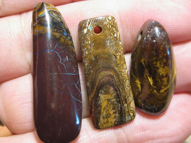 YowahOpals*89.85Cts-'Drilled' 3 Boulder Opal Parcel.