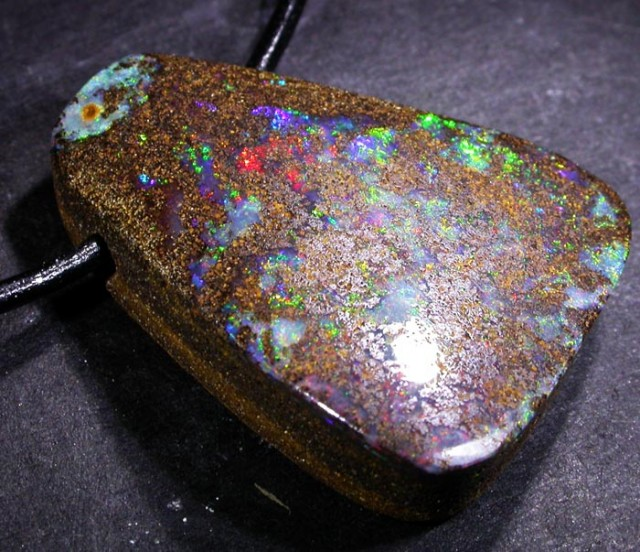 44.4 CTS BOULDER OPAL PENDANT WITH STRAP[SOJ4055 ]
