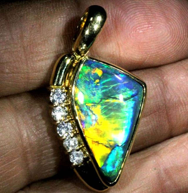 QUALITY BLACK SOLIDOPAL PENDANT GOLD N DIAMONDS 46   CTS JJ-1