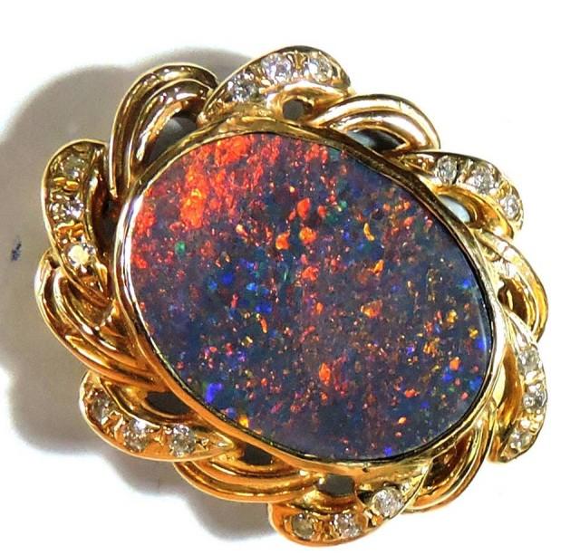 Red Fire Black Opal set in 18k Gold Pendant SCO 725