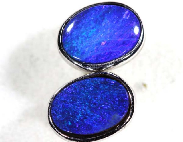 DOUBLET OPAL SILVER  EARRINGS  5.0  CTS    OF-363