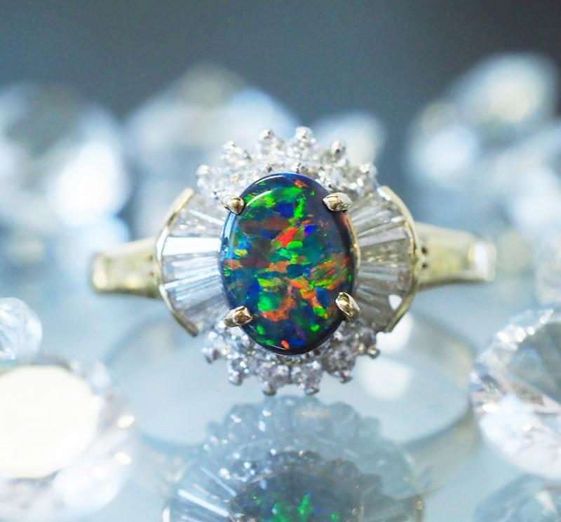 Gem Black Opal ,Diamonds set in 18k Gold Ring Size 6 SCO 1205