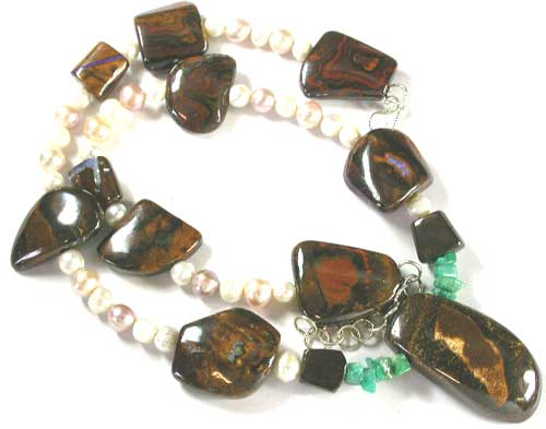 UNIQUE NECKLACE BOULDER OPAL WITH GEMSTONE CREATION SET5