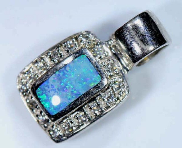 STYLISH OPAL SILVER INLAY PENDANT 6.5 CTS  OF-440