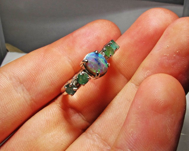 Solid Opal & Emerald set in Silver Ring Size 9   PL 1200