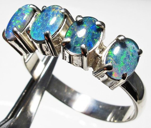 Triplet opal Cluster set in Silver Ring Size 11  PL 1231