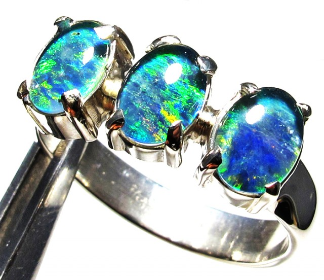 Triplet opal 3pc Cluster set in Silver Ring Size  8 PL 1235