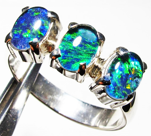 Triplet opal 3pc Cluster set in Silver Ring Size 8  PL 1237