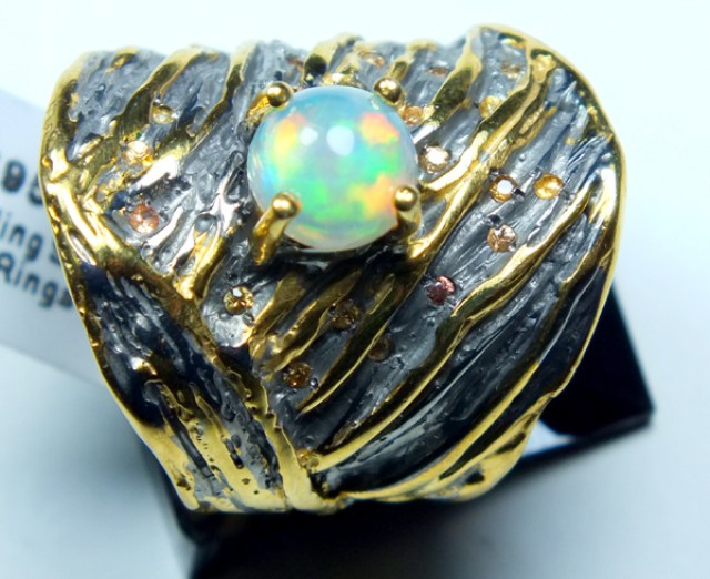 ETHIOPIAN OPAL RING STERLING SILVER 56.0 CTS    OF-584