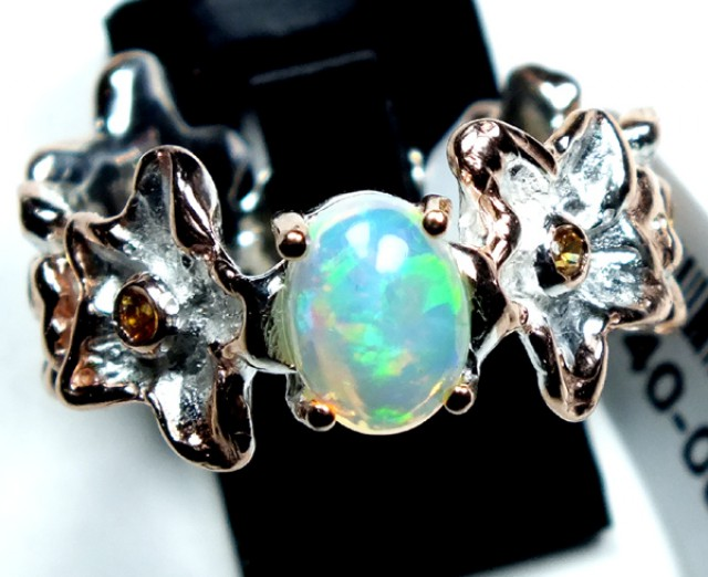 ETHIOPIAN OPAL RING STERLING SILVER 28.0 CTS    OF-586