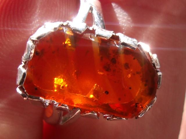 Bezel set Opal gem taxco silver ring sz 6.0