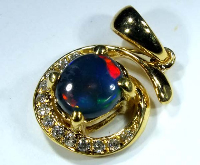 BLACK OPAL 18K GOLD PENDANT 8.75  CTS     OF-600