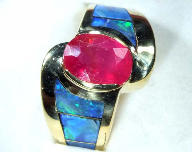 INLAY RUBY OPAL 18K GOLD  RING 68.50  CTS     OF-612