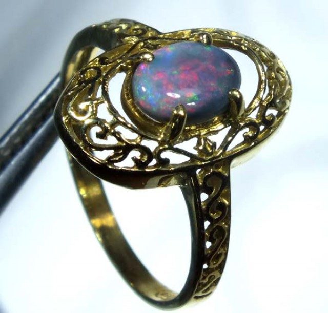 BLACK OPAL 18K GOLD RING  12.90 CTS     OF-614