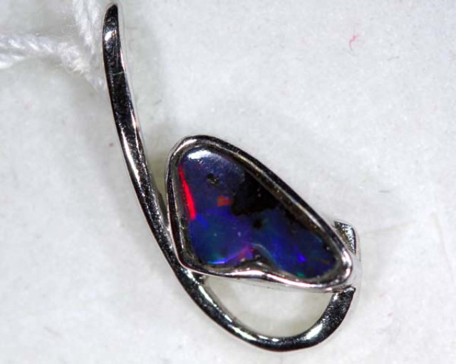 BOULDER OPAL 18K WHITE GOLD PENDANT 5.45 CTS   OF-625