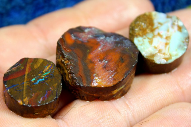 130.65 CTS 3 PIECE YOWAH OPAL RUBS PRE SHAPPED FOR EASY CUTTING