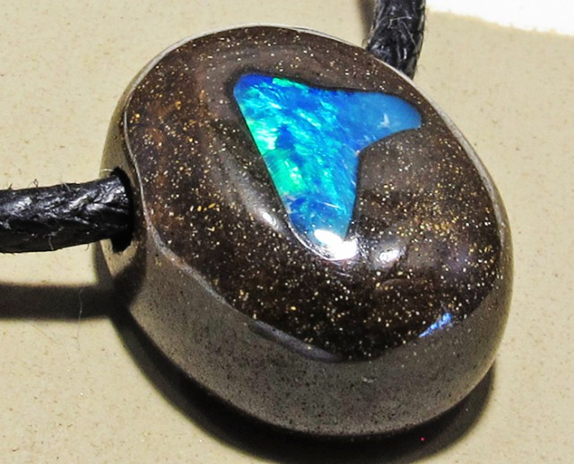 16.35 CTS Inlaid Boulder Opal Pendant MMR 1892