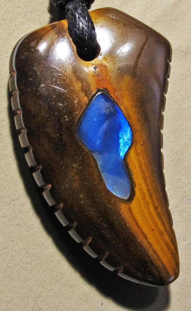 26.73 CTS Inlaid Boulder Opal Pendant MMR 1902