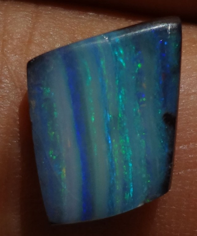 Beautiful Blue Stripe Pattern Solid  Quilpie Boulder Opal